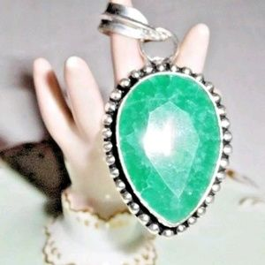 48 Ct.t.w. Artisan Emerald 925 Silver Pendant